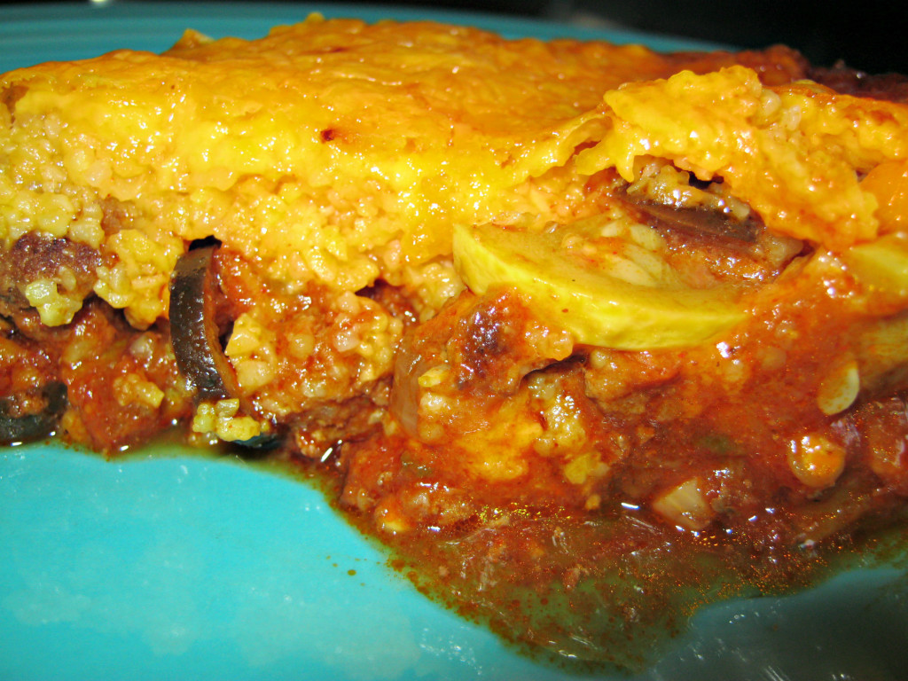 A slice of tamale squash pie