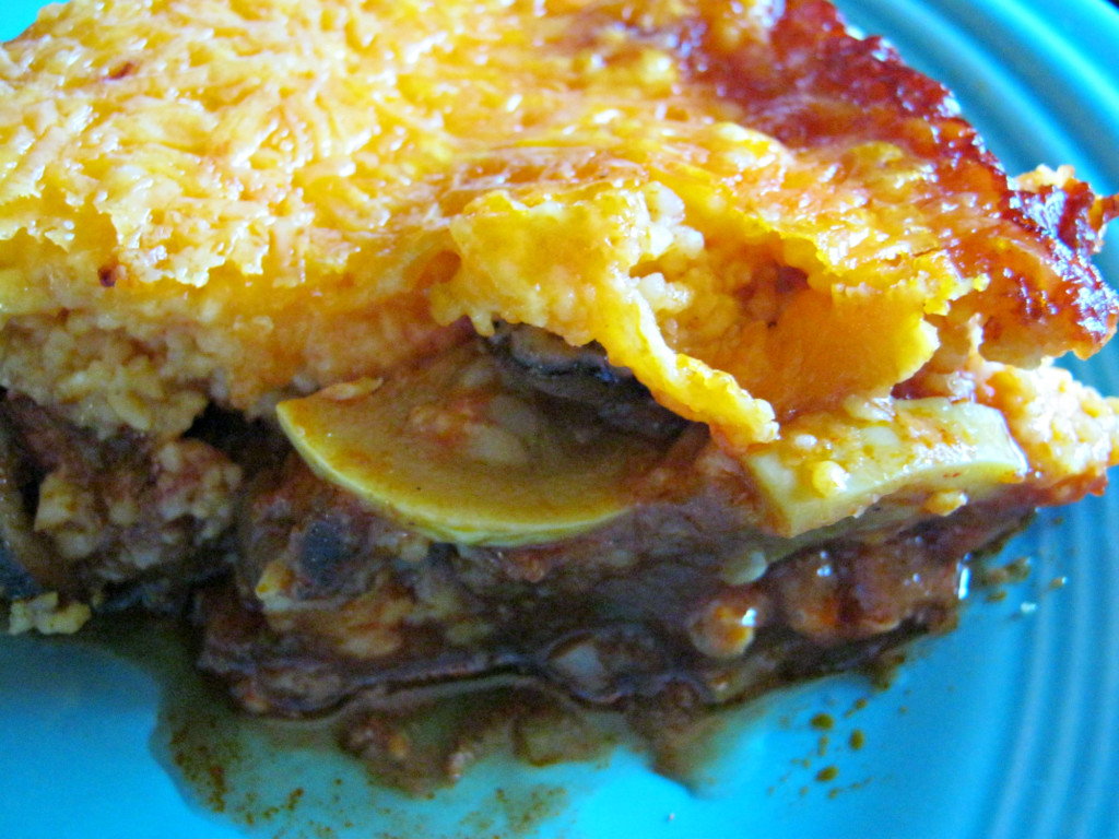 A serving of tamale squash pie casserole