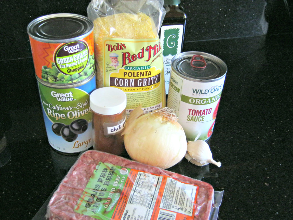 Ingredients for tamale squash pie