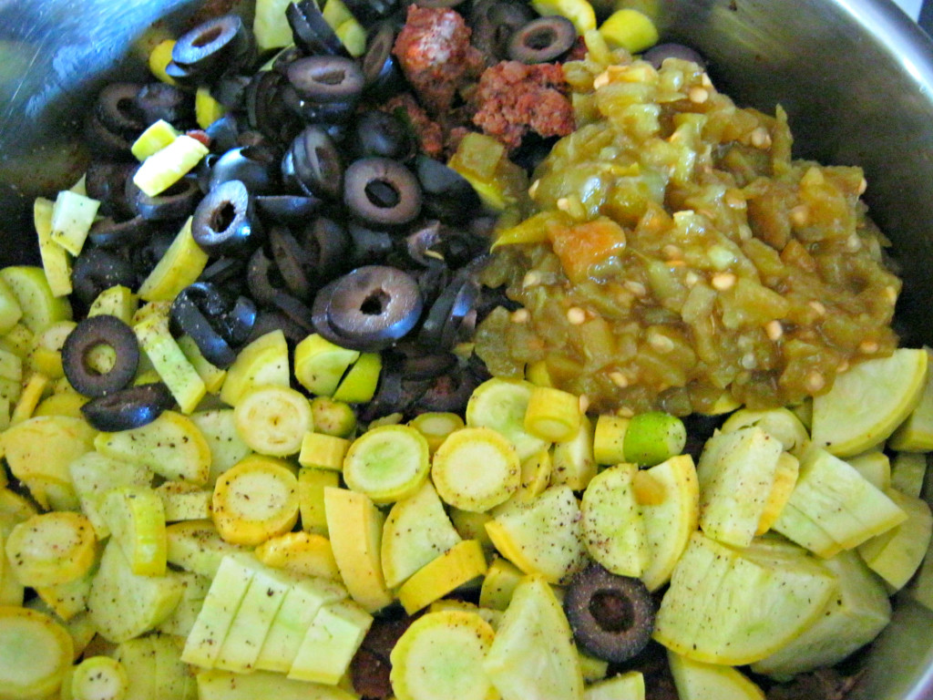 Vegetables added to browned meat