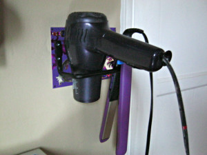diy hair dryer flat iron holder