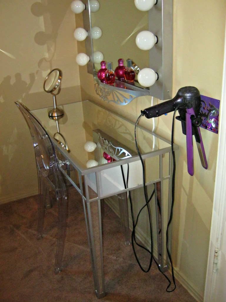 Makeup vanity with wall-mounted DIY blow dryer/flat iron holder