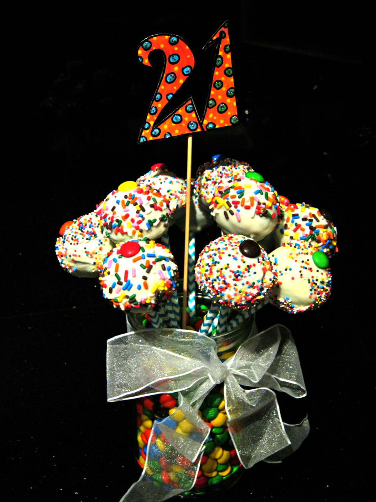 Brownie pop bouquet for 21st birthday