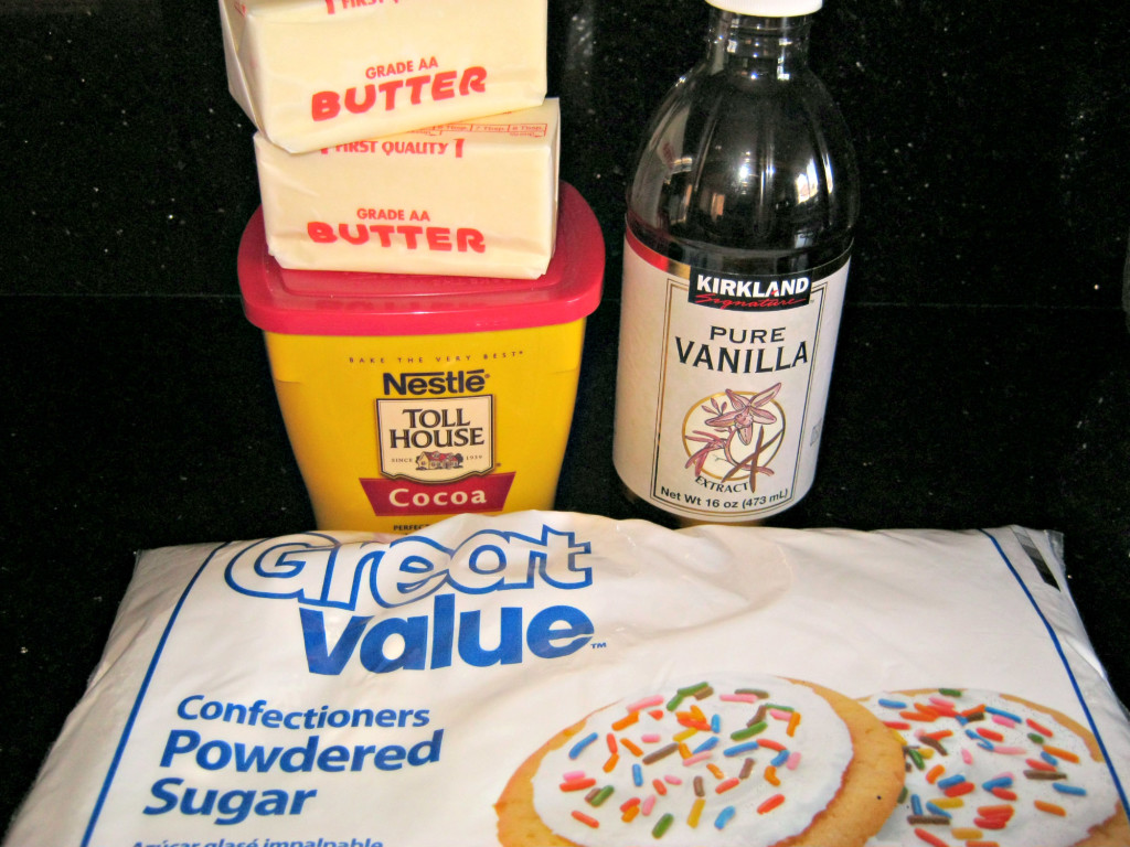 Ingredients for chocolate buttercream frosting