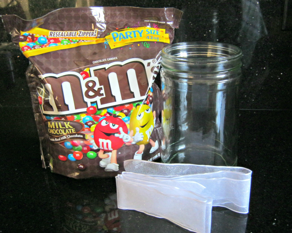 M&Ms, recycled jar and ribbon