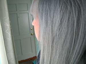 Side view of the gray hair