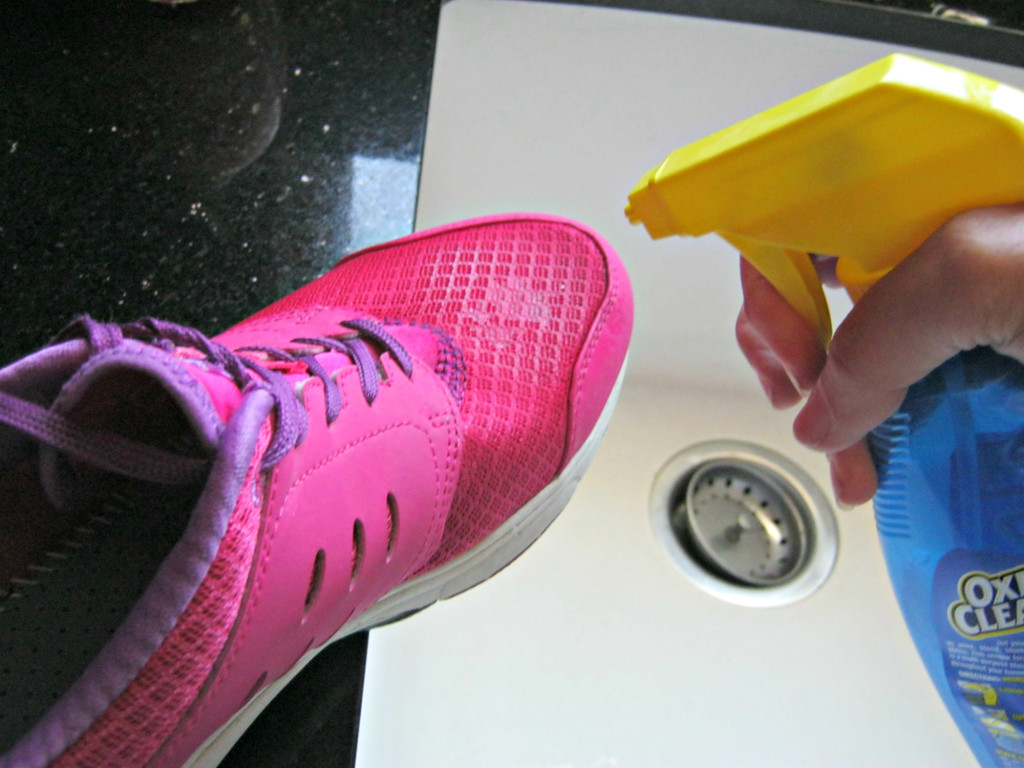 Spraying Biokleen on my shoes
