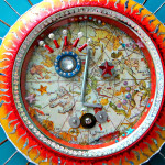 Radiant Sun wall art assemblage recycled sequin art