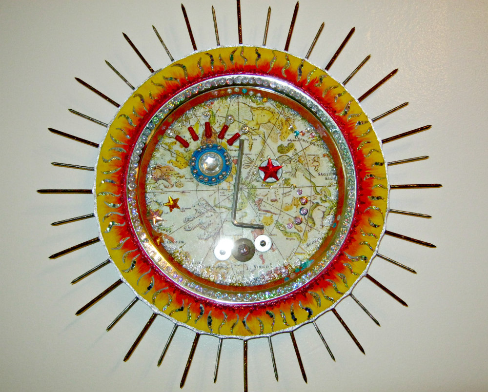 Radiant Sun wall art assemblage recycled art by Lynda Makara