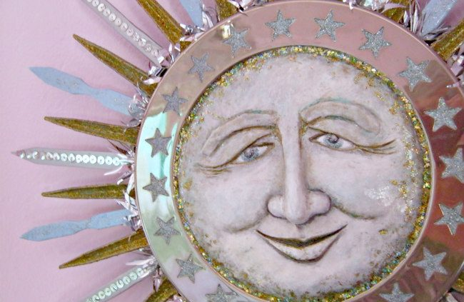 morning star sun sculpture paperclay and recycled