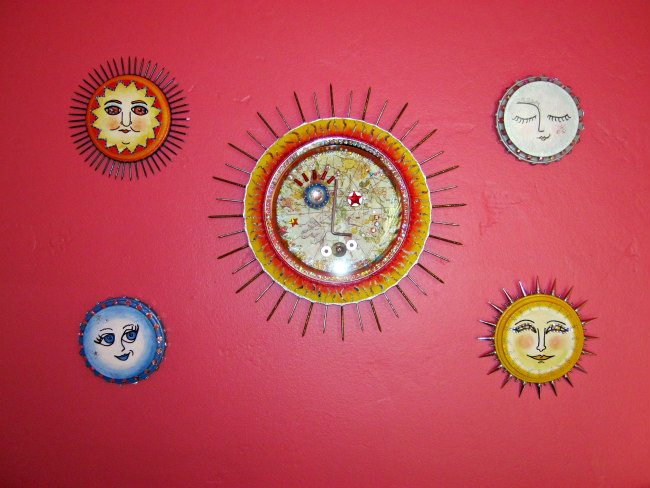 moon wall art and sun assemblage painting plaque