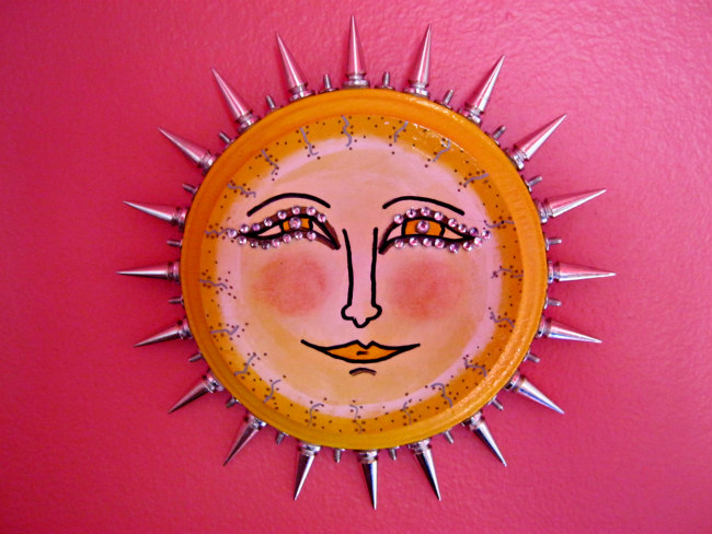 sun assemblage painting plaque