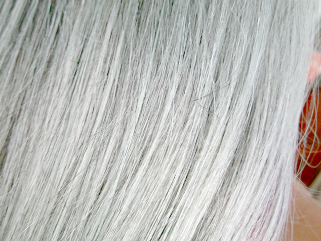 toned silver hair