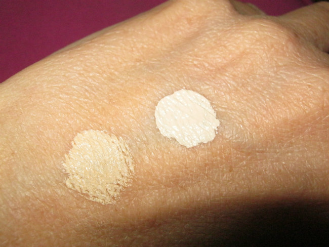 Concealer swatch: (L) instant age rewind, (R) magic star