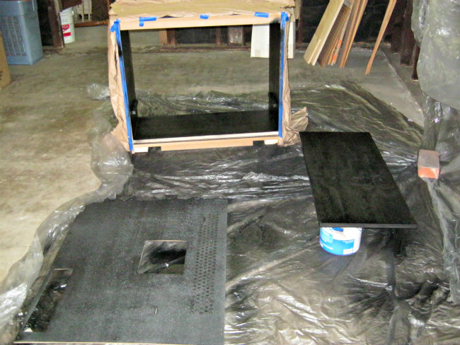 spray painting tv cabinet