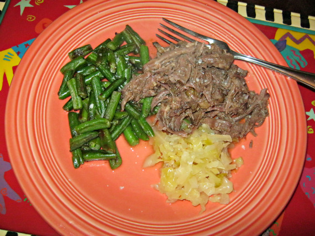 Dinner: Shredded pot roast, green beans, sauerkraut