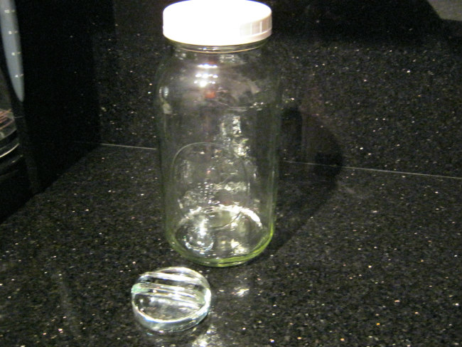 64 oz  mason jar, plastic lid and glass weight